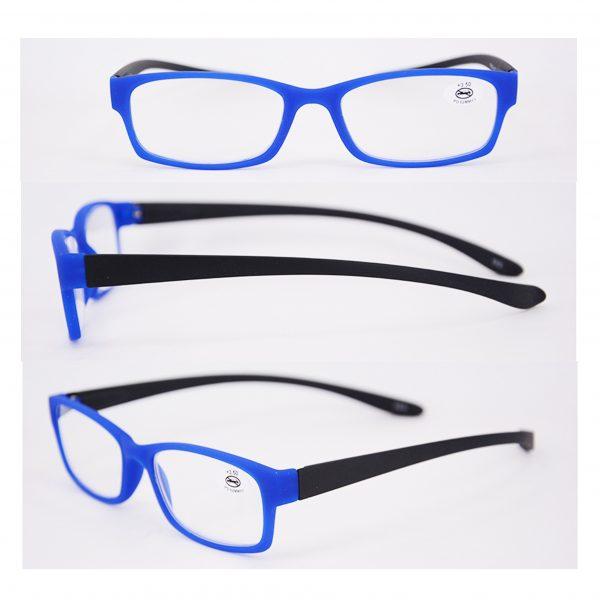 blue and black reading glasses