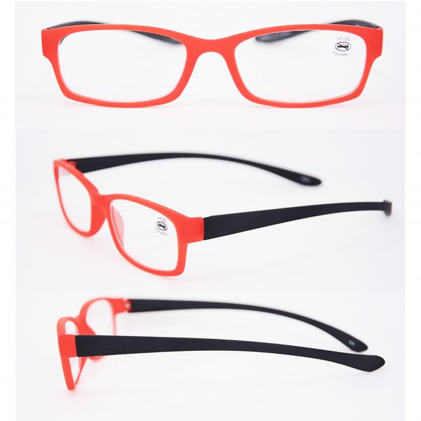 red and black reading glasses